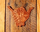 Retro Shaka Wood Sticker // Wood Sticker // Shaka Wood Sticker // Shaka Sticker // Surfer Sticker // Surf // Shaka