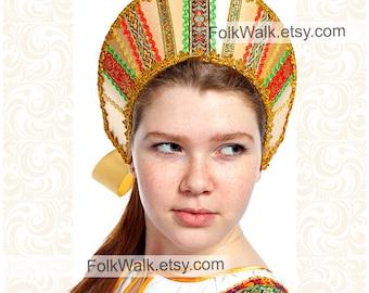 Russian hat Vera, women russian hat, russian tiara, russian crown, kokoshnik tiara, russian headwear, russian head-dress, russian kokoshnik