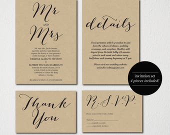 Mr & Mrs/Wedding Invitation Printable/Wedding Invitation Template/Wedding Invitation/Classic Wedding Template/Invitation Set/Spanish Option