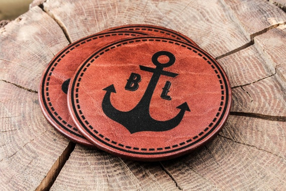 Сoasters set in GIFT BOX - gift for husband - beermat - Anchor monogram - drink coasters - bar coasters - Leather coasters - beer coasters