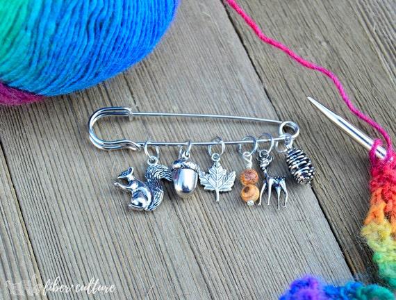 Knitting Lifeline With Stitch Markers : Woodland Forest Knitting Stitch Markers Stitch Marker Set