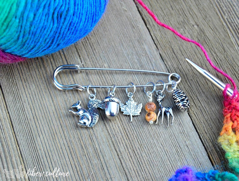 Knitting Markers Etsy : Woodland forest knitting stitch markers marker set