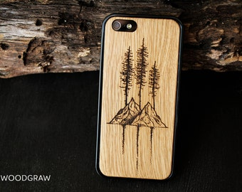 Mountain iphone case 7 Plus wooden 5S wood 6S womens gift men, iphone 5S case wood, gifts for him, groomsmen gift, husband gift, mens gift