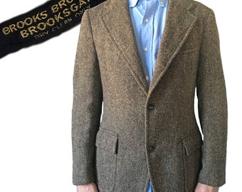 Vintage 1960s Brooks Brothers Brooksgate Herringbone Two-Button Tailored Jacket — Size M 37