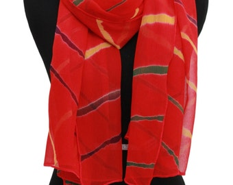 Diagonal stripes chiffon scarf,Red chiffon tie and dye scarf,Long scarf,Hand dyed scarf,Versatile scarf,Printed scarf,Gift for wedding