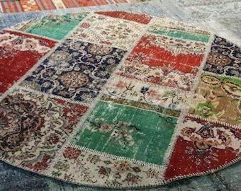 ROUND Rug,Overdyed Rug, Patchwork Rug, Overdyed Turkish Rug, Vintage Rug,