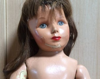 """Monica Doll - Composition Doll - Vintage 1940s - 17"""" TLC Doll for Parts or Restoration - Human Hair Wig - 26-35"""