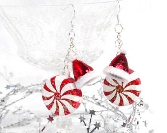 santa hat earrings, peppermint earrings, christmas party earrings, christmas jewelry, red holiday earrings, stocking stuffers for women,