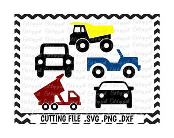Construction Trucks Svg, Truck Svg, Car Svg, Cars and Trucks Svg-Dxf-Fcm-Png, Cutting Files For Silhouette Studio/ Cricut, SVG Download.