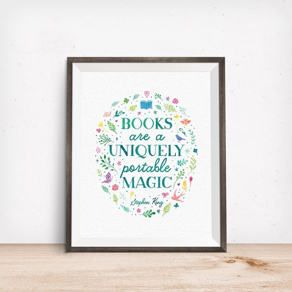 Printable Art, Books are a Uniquely Portable Magic, Stephen King Quote, Book Lover Art Gift, Digital Download Print