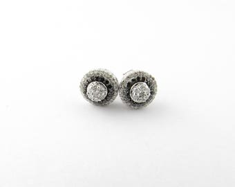 Vintage 10 Karat White Gold Diamond Earrings #1761