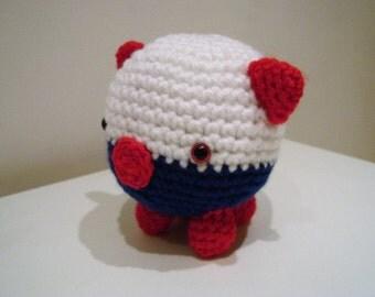 Pig, Piglet, Soft Toy, Red White & Blue, Crochet Pig, Amigurumi Pig, Handmade Pig