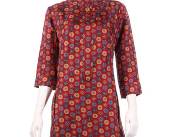 Red, yellow and blue vintage spotted dress size 12/14