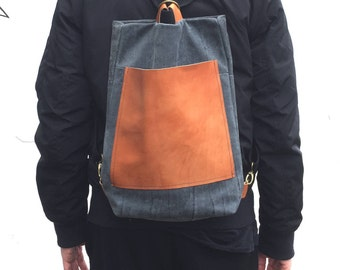 Milo Leather Backpack, Leather Backpack, Reclaimed Leather, Veg Tan Leather, Vegatable Tanned Leather