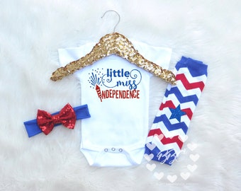 Baby Girl 4th Of July Outfit, Girls Red White and Blue Clothing, Little Miss Independence Day, Firework Day, Baby Girls Clothing Set