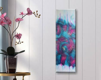 Original Abstract Acrylic Structure Painting 30x90 cm blue magenta gold