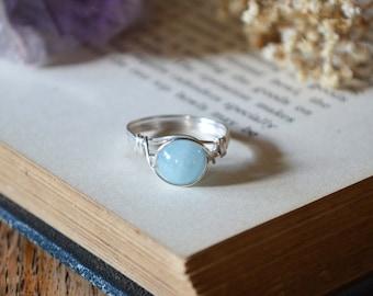 Aquamarine Ring 925 - Wire Wrapped Ring - March Birthstone - Wisdom, Public Speaking -Boho Ring - Elven Ring - Throat Chakra - Scorpio