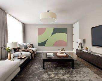 "Large Horizontal Vertical Abstract Painting 38""x61"" Canvas Acrylic Tall Huge XXL Modern Minimalist Wall Art Giant Geometric Wall Art Decor"