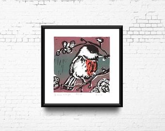 "Bird Linocut Print, 8x8"" Print Pink Green Black, Hand Pulled Print, Small Original Artwork, Bird in Tree Art, Ready to Ship"