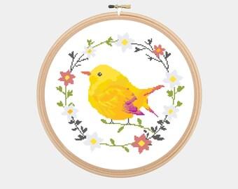 Cross Stitch Pattern - Bird - Cute Colorful Yellow Bird - Instant Download