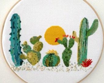 Cross Stitch Pattern Succulent Cactus, Modern Cross Stitch Pattern, Cactus Cross Stitch Design, Nature, Cacti, Dessert