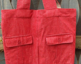 Up-cycled red denim tote bag