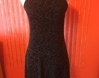 Vintage 90s black sparkle swirly silver glitter stretchy mini little black dress