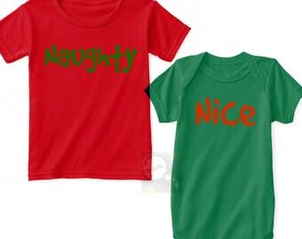 Naughty Nice Christmas Shirts, Brother Sister Holiday Outfits, Brother Sister Christmas Shirts, Sibling Christmas Shirts, Twin Christmas Tee