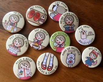 "KIDS PERSONAL Chore Magnets (GIRL-4), 1 set = 12 pcs, Customizable chore magnets, 1.25"" 32mm, cute chore magnets, chore chart magnets"