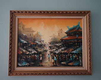 "Original oil painting - ""Asian Street Market "" 1980s"