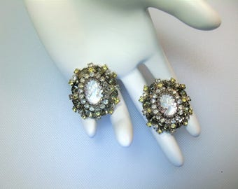 Gorgeous Mother Of Pearl Cameo with Smoke, Clear and Pale Yellow Rhinestones Clip Earrings Designer Signed Hobe