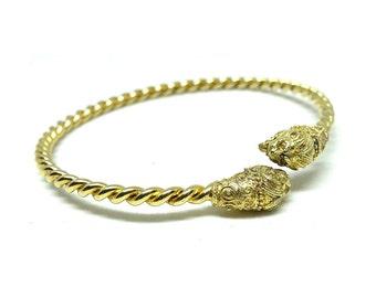 Egyptian Revival Bracelet | Lion Head Bracelet | 1920s Bracelet | Silver Gilt Bracelet | Art Deco Bracelet