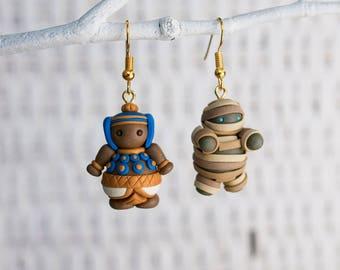 Halloween Earrings, Egypt Earrings, Egypt Clay Earrings, Pharaoh Polymer Clay Earrings, Handmade Clay Earrings, MismatchedEarrings