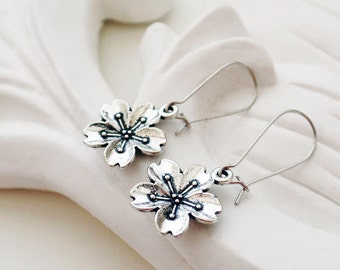 Silver Flower Earrings | Plum Blossom Earrings | Silver Boho Earrings