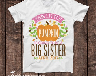 Fall Big Sister Shirt - Fall Pregnancy Announcement Shirt - Fall Baby Announcement Shirt - Thanksgiving Baby Announcement T Shirt - Pumpkin