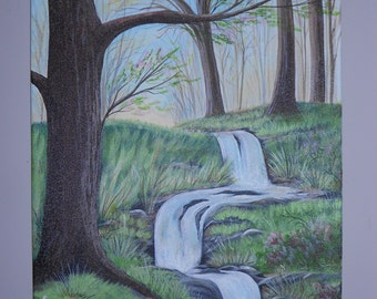 """16"""" x 20"""" Acrylic on Canvas of a Forest Stream in the Spring"""