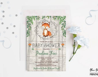 Woodland FOX Baby SHOWER Invitation. Boy Baby Fox Baby Digital Invite. Rustic Forest Animal Invitation. Cute Shower Party Invitation. FOX-G