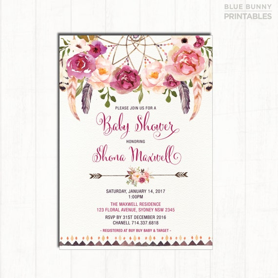 bohemian baby shower invitation. boho baby shower invite.,