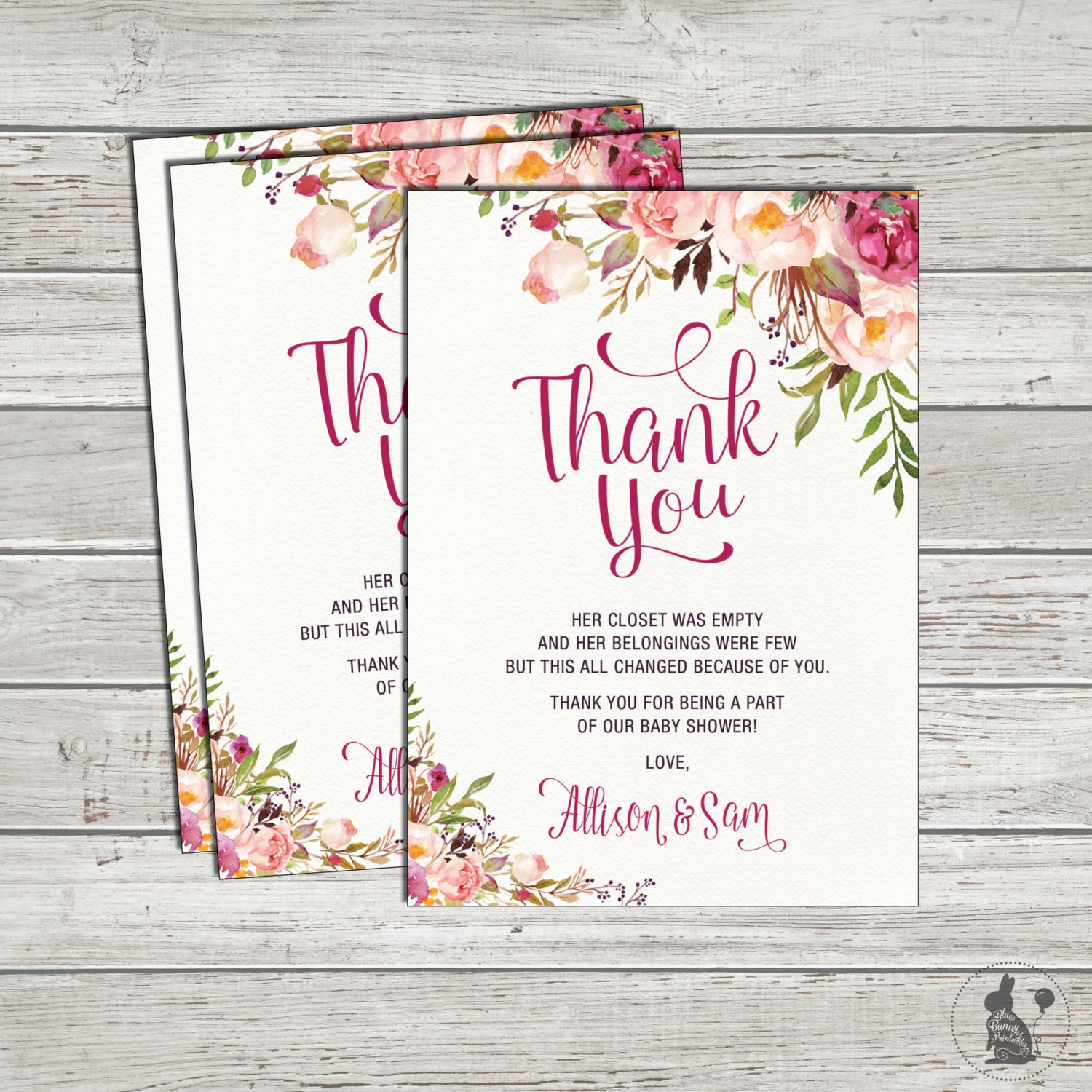 Bohemian Floral Thank You Card Boho Baby Shower Printable