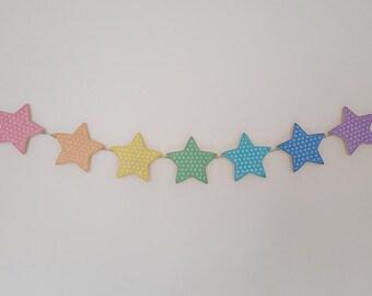 Rainbow star bunting, Wood decoupage stars, Wooden star garland, Cute coloured stars
