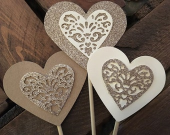 x100 Heart Lollipops - hearts on a stick wedding aisle decorations