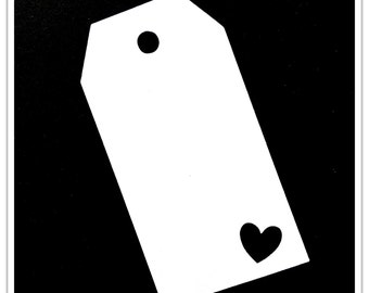 Set of 10 tags whith heart