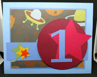 Outer space first birthday card