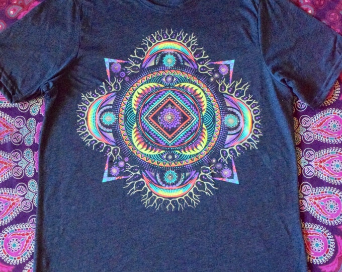 Dark Grey Sacred Geometry Mandala Tee