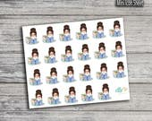 Reading/Studying Girl Stickers (Glossy & Matte)