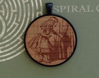 Alice in Wonderland - Alice - Laser Engraved Wood Pendant Necklace