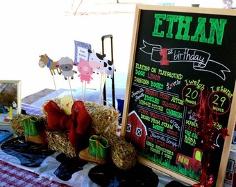 Real birthday chalkboard (not digital), barn yard theme, country, farm house, 1st first birthday, pictures, photo prop