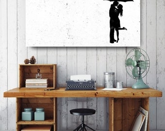 Couple Under Umbrella Silhouette, Black and White Print, Silhouette Wall Art, Canvas Wall Decor, Black & White Canvas Art, Printed on Canvas