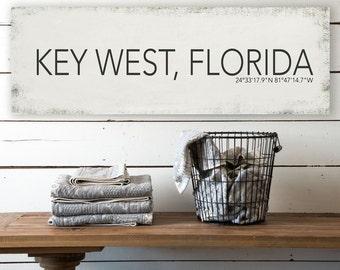 Key West Florida Wall Canvas, Key West Vintage City Canvas, Printed on Canvas, Vintage Wall Decor, Vintage Wall Art