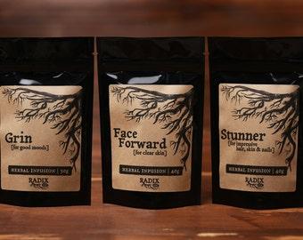Herbal Tea Gift Set - Beauty, Clear Skin, Complexion, Healthy Hair, Nutrition, Good Mood - Loose Leaf Tea Sampler, Healthy Living, Wellness